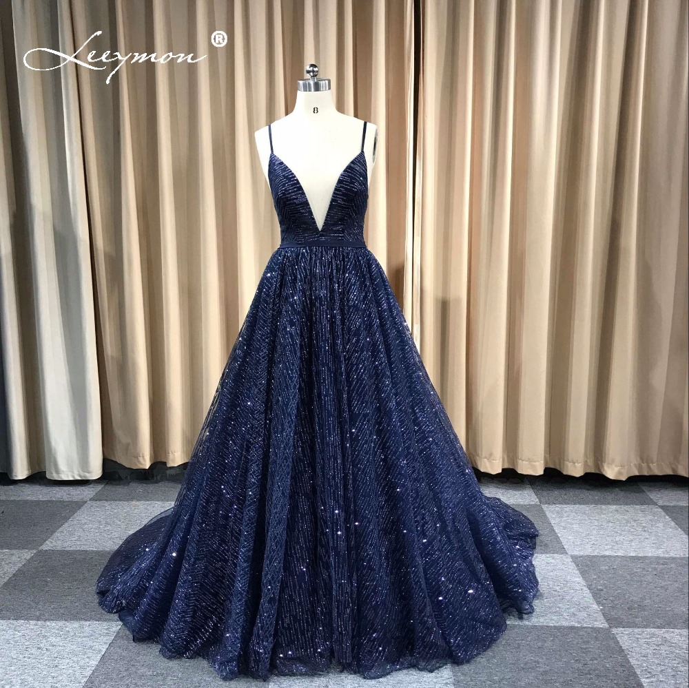 Leeymon Custom Made Sexy Glitter Deep V-Neck Prom Dresses Elegant A Line Backless Cheap Long Dress For Evening Party