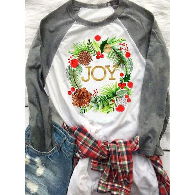 Vessos mujeres manga larga Camiseta Navidad alegría empalme floral de manga larga Camiseta femenina 2018 moda casual suelta Tops Camisetas Tees