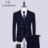 TIAN QIONG 2019 New Luxury Suit 3 Piece Mens Blue plaid suit Suits with Pants Classic Wedding Business Slim Fit Party Suit Men