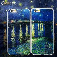CASEIER Art Phone Case For iPhone X Soft Silicone TPU Cover 5s 6 6s 7 8 Plus Van Gogh Painting Fans Funda Capinha