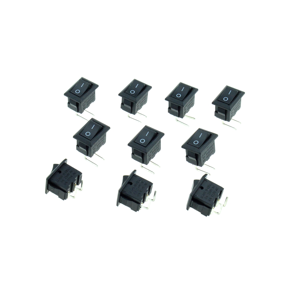 Black Button 3A 250VAC 2 Right Angle Pins 2 Positions ON/OFF SPST Single Pole Single Throw 13x9mm Hole PCB Rocker Boat Switch