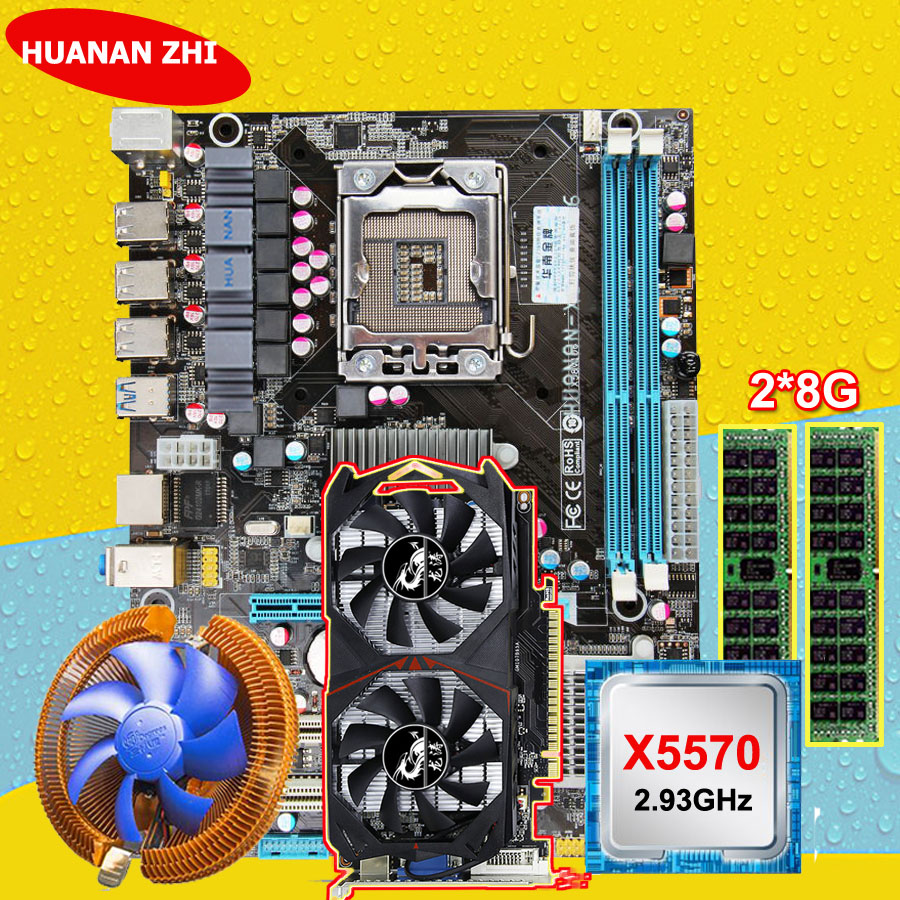 Descuento placa base HUANAN ZHI X58 placa base con CPU Intel Xeon X5570 2,93 GHz RAM 2*8g DDR3 REG ECC GTX750Ti 2G tarjeta de video
