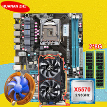 Скидка материнской HUANAN Чжи X58 материнская плата с ЦПУ Intel Xeon X5570 2,93 ГГц Оперативная память 2*8G DDR3 регистровая и ecc-память GTX750Ti 2G видео карта
