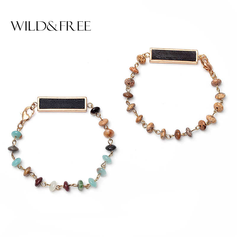 Wild&Free Natural Stone Beads Bracelets&Bangles For Women Handmade Square Pendant Charm Bracelets Jewelry DropShipping Wholesale