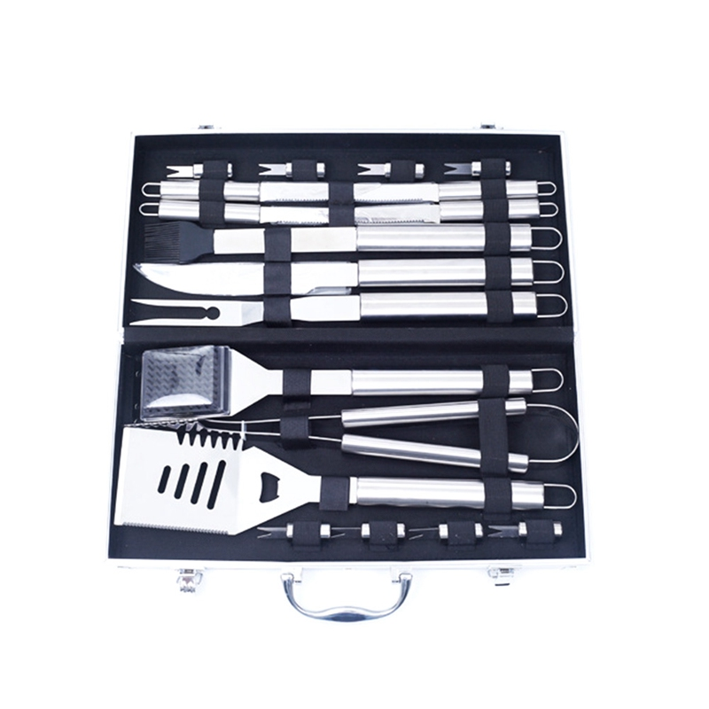 18 Pieces/Set High Quality BBQ Set Tools Oudoor Stainless-Steel Barbecue Set with Storage Case Fork Tongs