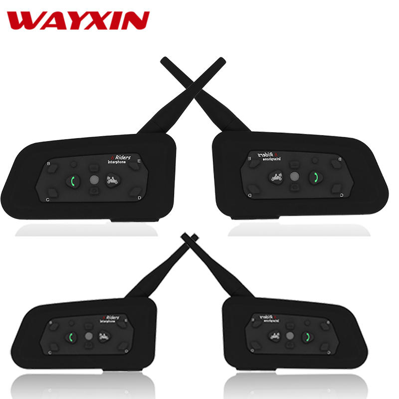 Wayxin Bluetooth Interphone Pour Moto R6 4 pcs Casque Casques Bluetooth Interphone Pour Moto 1200 m Comunicador Moto