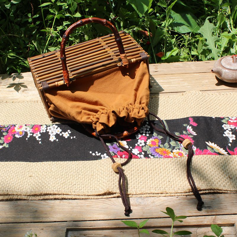 XXXG//Japan Vintage Handmade Zongzhu bamboo bag bag storage basket incense box manual Zizhu tea