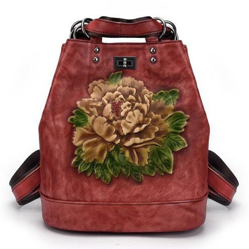 New luxury women bag top cowhide women Backpacks genuine Leather bags Retro Embossing flower bag designer