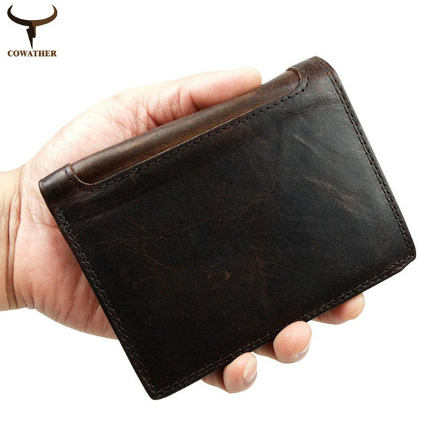 COWATHER 2016 Men wallets male purse top layer cow vintage Crazy horse leather carteira masculina wallet for men free shipping