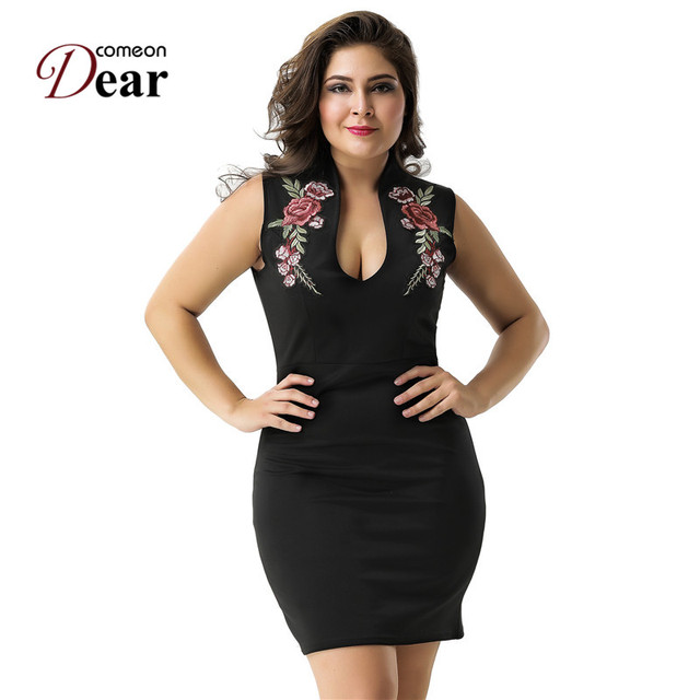 5777823088d Comeondear Bodycon Dress Plus Size Rose Applique Elegant Mini Party Dresses  RJ80483 Summer Sexy V Neck Black Mini Dress Vestido