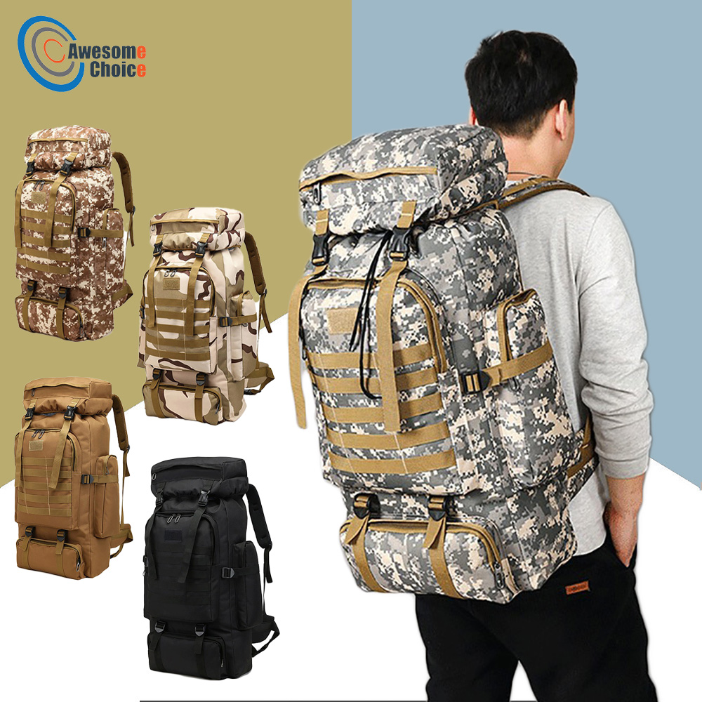 80L escalada impermeable senderismo mochila táctica militar bolsa de Camping al aire libre montañismo deporte Molle 3 P bolsa