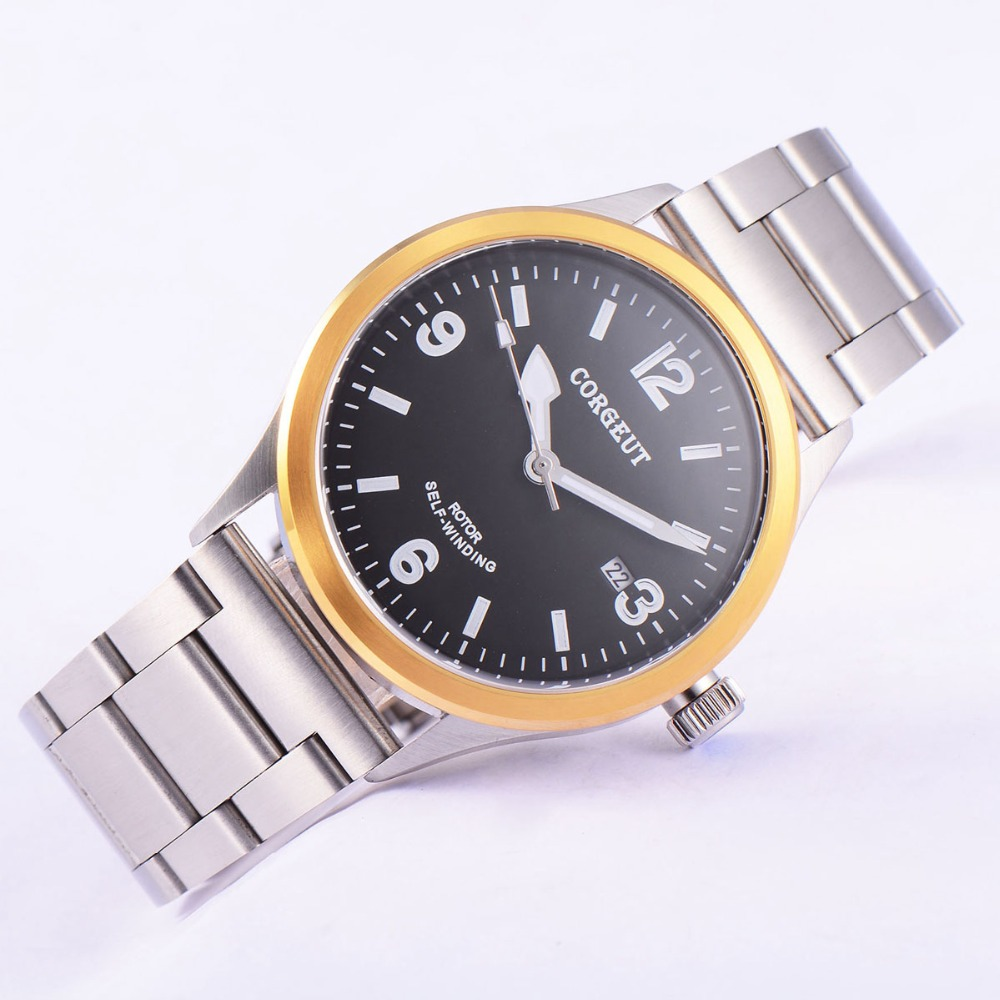 41mm Corgeut Wristwatches SS Case Black Dial stainless steel strap Japan Miyota 2815 Automatic Mens water resistant wristwatches corgeut 44mm wristwatches rose gold case white dial coffee leather strap hand winding 6498 water resistant men watches cm2005b