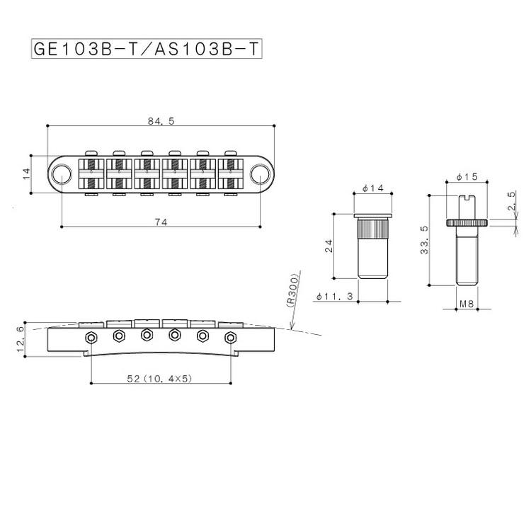 Gotoh Ge103b T Saddle Tune O Matic Electric Guitar Bridge For Epip