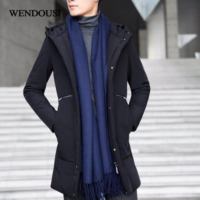 WENDOUSI Brand Winter Warm Long Thick Down Jacket Men Casual Hooded Parkas Male Winter Outerwear Warm Down Coats Big Size HS5999