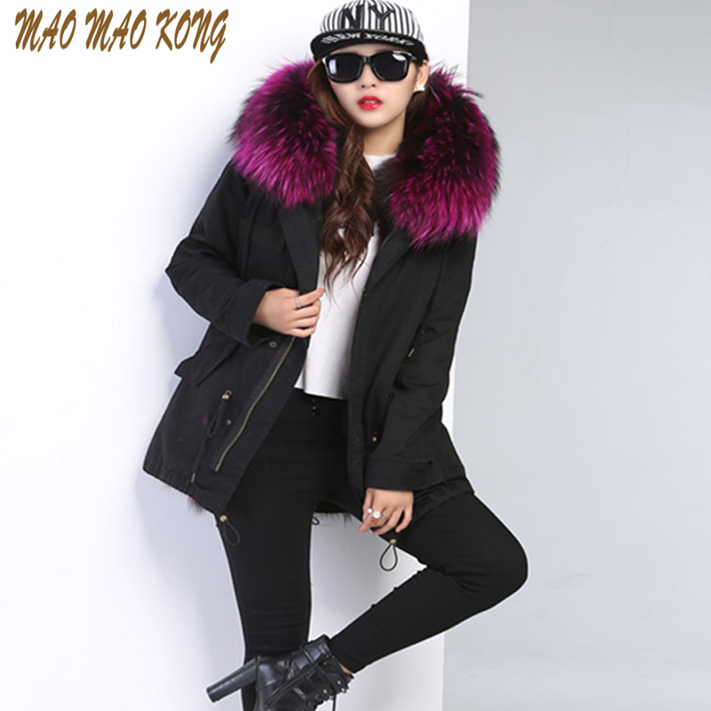 Maomaokong 100% Large Raccoon Fur Collar Women Winter Coat Jacket army green Real Fox Fur Lining Outwear Brand Style Parka 2017 winter new clothes to overcome the coat of women in the long reed rabbit hair fur fur coat fox raccoon fur collar
