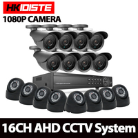HKIXDISTE Home HD 16CH AHD 1080P DVR Kit CCTV Video System 8PCS 2 0MP Outdoor 8PCS