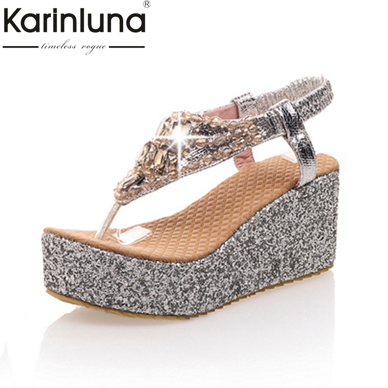 KarinLuna 2018 Big Size 31-47 Customized Crystals Platform Women Shoes Fashion Bohemia Wedge high-heeled Summer Sandals ShoesKarinLuna 2018 Big Size 31-47 Customized Crystals Platform Women Shoes Fashion Bohemia Wedge high-heeled Summer Sandals Shoes