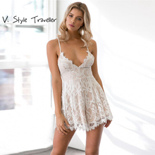 Sexy Lace Playsuit Camis V Neck Bodysuit Women Shorts Boho Jumpsuit vestido Cheap Clothes China Summer Style Leisure Rompers New