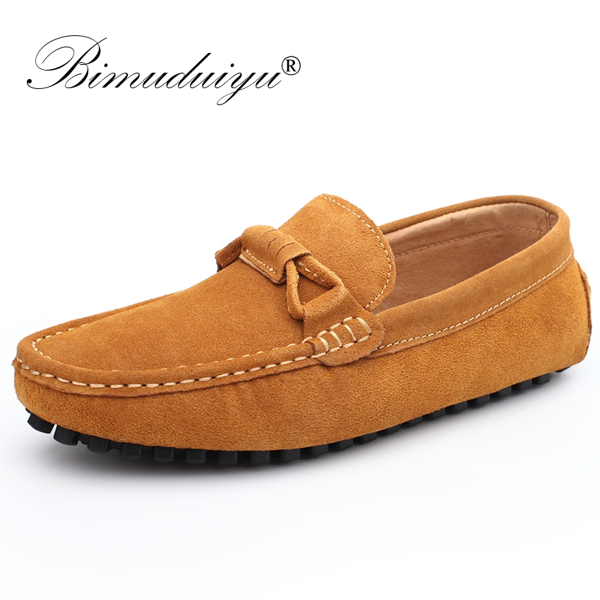 BIMUDUIYU New 2018 Men Cow Suede Leather Loafers Slip on Men Casual Shoes Comfortable Breathable Driving Moccasins Boat Shoes new suede leather women shoes loafers slip on sewing driving flats tassel woman breathable moccasins blue ladies boat flat shoes
