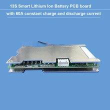 48 V או 54.6 V 13 S bluetooth li יון BMS עם 60A קבוע ופריקה נוכחית איזון פונקצית PCB UART