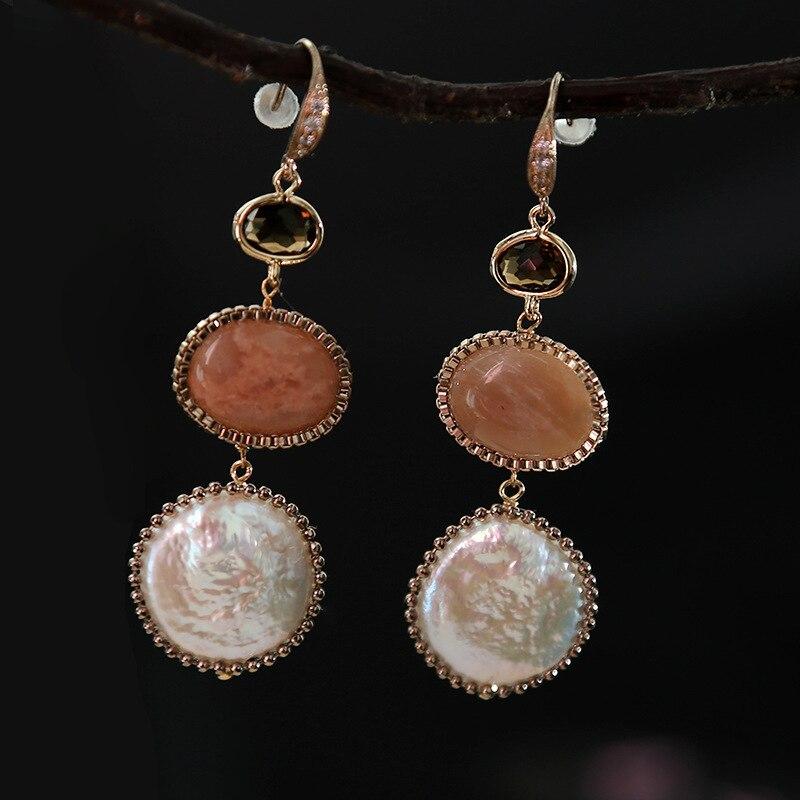 Conçu par perle naturelle pierres semi-précieuses mode simple tempérament double oreille crochet en gros perle boucles d'oreilles