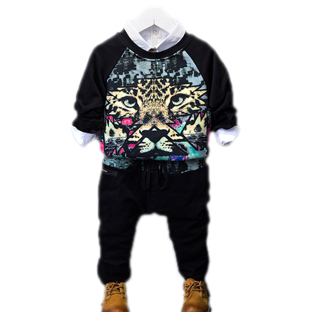 Fashion Brand 2016 New Spring/Autumn Kids Clothes Boys Clothins Sets Tiger Head Print Suit Two Piece Boys Sport Suits 2-7Years