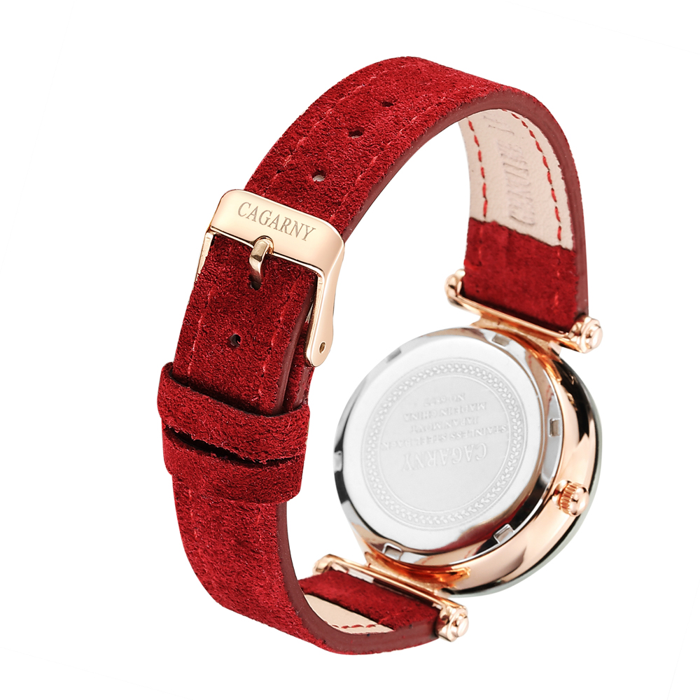 Minimalist Watch For Women Top Luxury Brand Cagarny Women's Quartz Wrist Watches Fashion Ladies Clock Starry Sky Dial Rose Gold