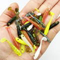 Hot selling! fishing lure soft 12Pcs/Lot 3.4cm/0.4g Soft Baits 3D eyes with smell salt Fishing Lures soft bag