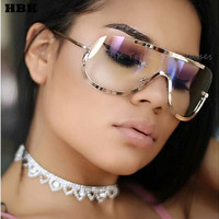 Newest Big Shield Glasses Frame Oversize Alloy One Piece Sexy Cool Sunglasses Women Gold Clear Eyewear