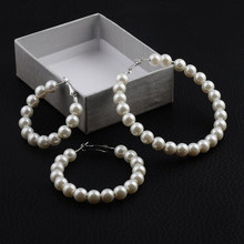 Jisensp New Pearl Hoop Earrings for Women Exaggerates Oversize Pearl Circle Ear Rings Earrings Fashion Europe Nightclub Jewelry(China)