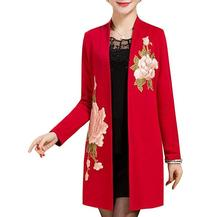 New spring autumn Middle age women cardigan jacket fashion Mother embroidery flowers Elegant shawl outwear plus size 5XL,S433