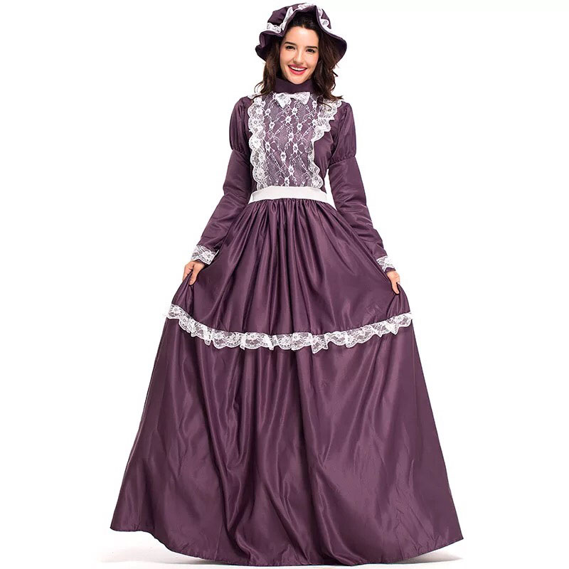 Prairie Lady Costume Victorian Laura Ingalls Wilder Cosplay Long Maxi Gown Robe Lace Dress Colony Pioneer Clothes For Women