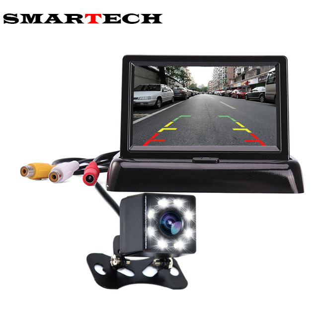 4.3 Inch TFT LCD Car Monitor Foldable Monitor Display Rear View Camera System for 2 Video Input Foldable Car Rearview Monitors