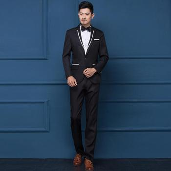 Black white singer stage single-breasted clothing men suit set with pants 2020 mens wedding suits costume groom formal dress tie