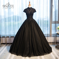 Vintage Black Ball Gown Formal Lace Evening Dresses 2017 Vestido High Neck Beaded Appliques Sweep Train