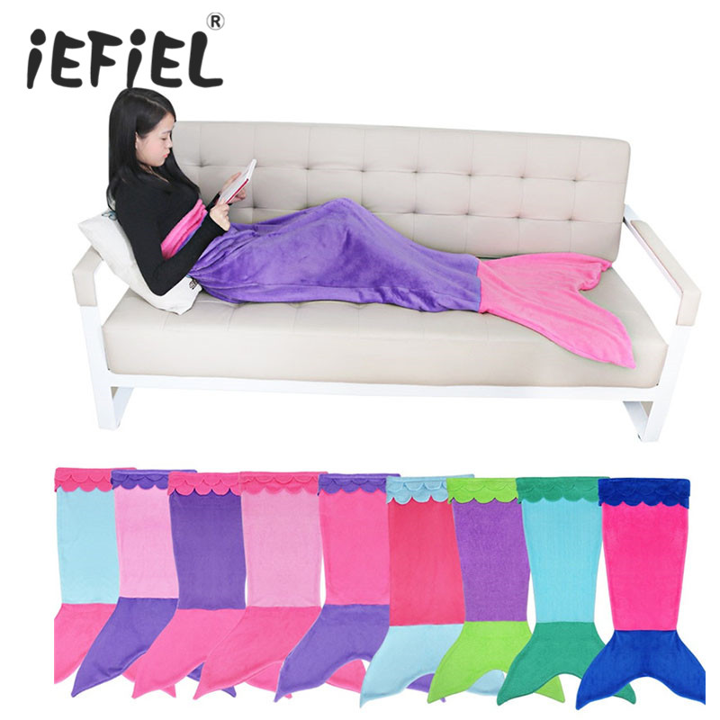 Soft Handmade Mermaid Tail Fleece Blanket Lap Throw Bed ...