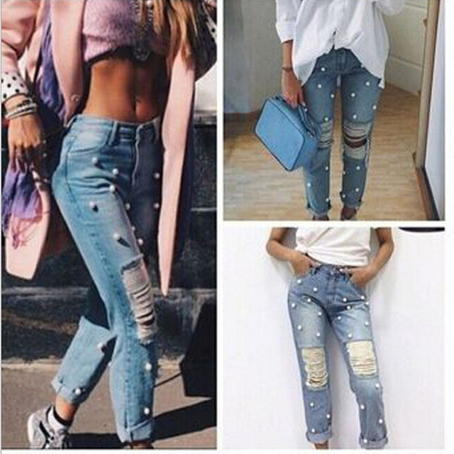 2017 Pearl Pole Spring & Autumn Cotton Ripped Denim Jeans