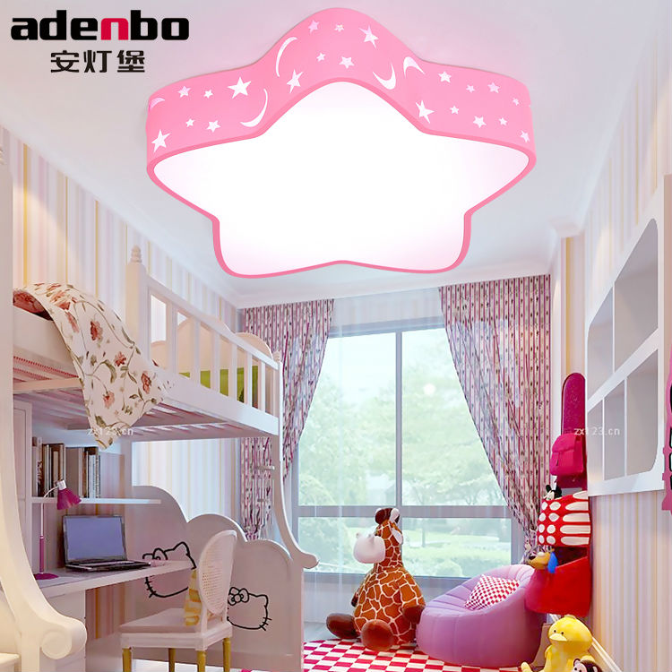 Remote Control Star Kids Ceiling Lights LED Lamp White Pink And Blue 24W SMD Electrodeless Dimmable Lighting Fixture For Bedroom