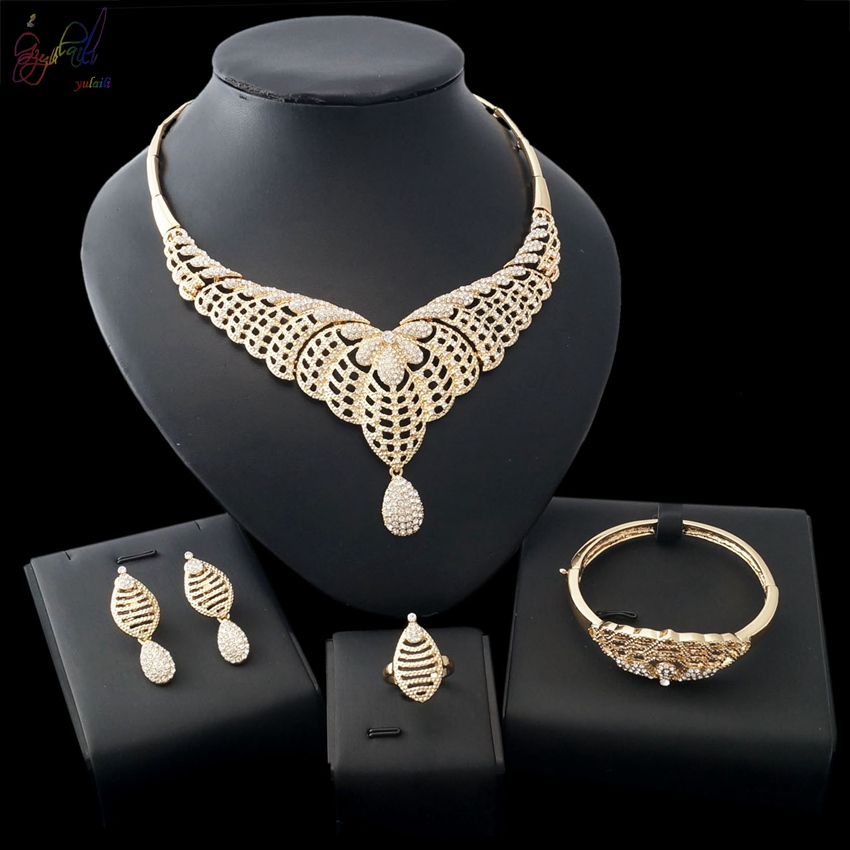 Yulaili Free Shipping Popular High Quality Fashion Zinc Alloy Ladies Four Pieces Jewelry Sets yulaili free delivery hot sell factory ethiopia design copper alloy four pieces ladies big jewelry sets