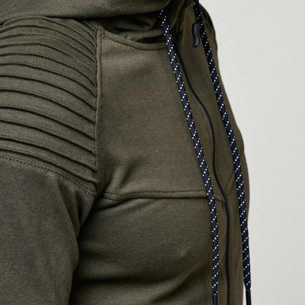 2 adet/takım Erkekler Klasik Saf Renk Uzun Kollu Kapşonlu Hırka Rahat Açık spor elbise Kazak + Pantolon