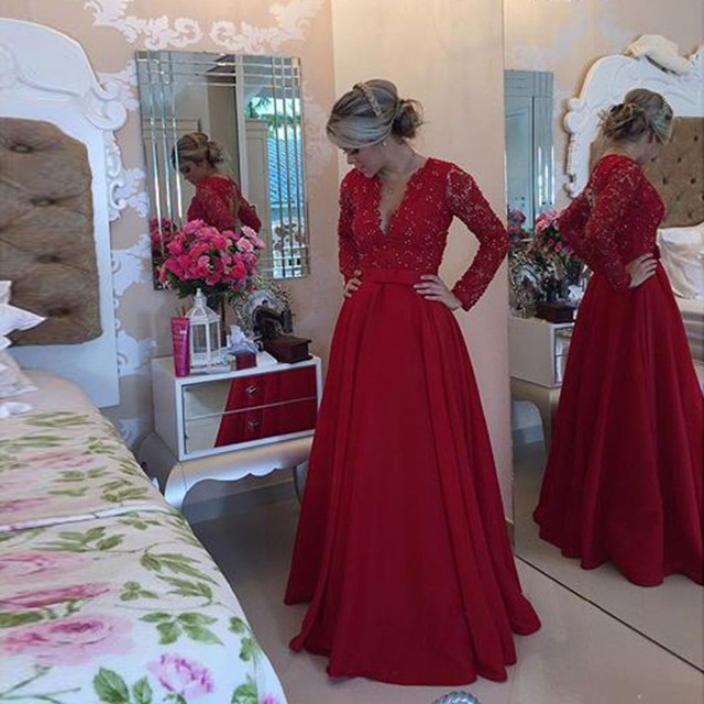 028d5e1b01b A line Prom Dresses with Long Sleeve 2016 V-Neck Sweep Train Chiffon 2016  red lace prom gown Formal evening Party Dress
