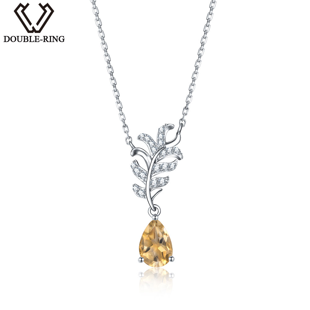 DOUBLE-R Genuine Natural Citrine Pendants Necklaces Real Solid 925 Sterling Silver Fine Wedding Jewelry for womenDOUBLE-R Genuine Natural Citrine Pendants Necklaces Real Solid 925 Sterling Silver Fine Wedding Jewelry for women
