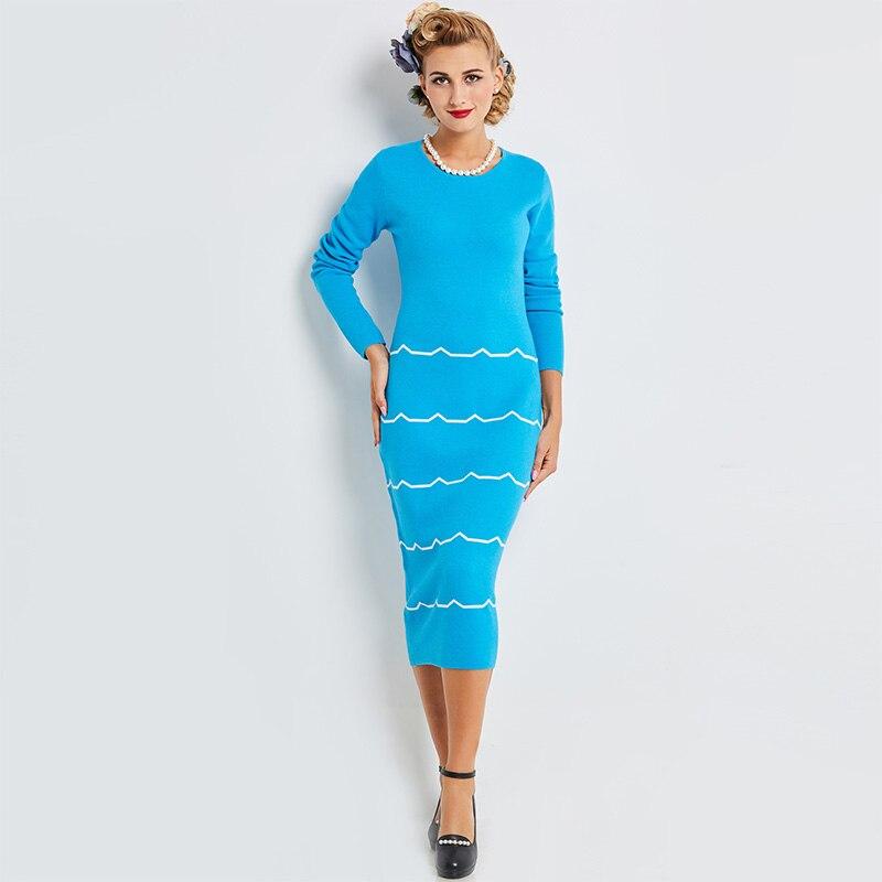 Sisjuly Sweater Dresses Solid Blue Long Sleeve O-Neck Knee-Length Straight Standard-Waist Vintage Girls Elegant Long Dresses