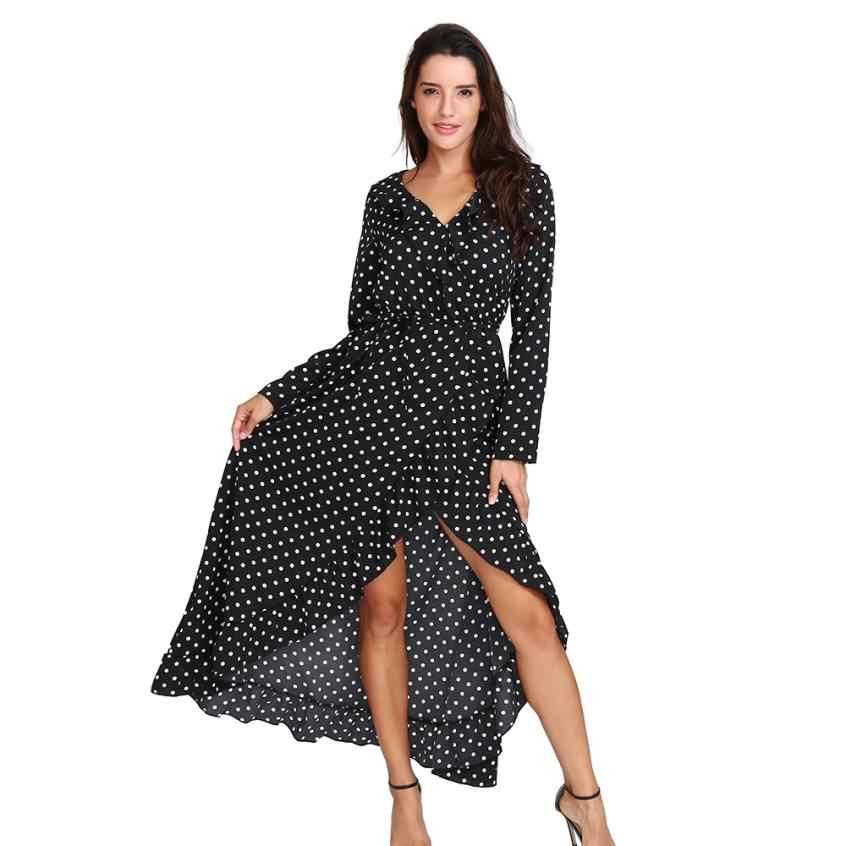 f2be8b06742  4 DROPSHIP 2018 NEW Fashion Women Sxey Boho Printing Long Sleeve Dot Empire  Casual Ladies