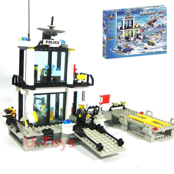 536pcs Kazi 6726 Maritime Police Station Building Block Set Figures Bricks Boys Toys Birthday Gift Learning & Education maritime security