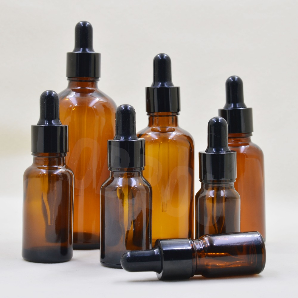 Amber Glass 5-100ml Liquid Reagent Pipette Bottle Eye Dropper Drop Aromatherapy