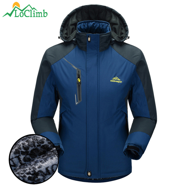 LoClimb Faux Fur Waterproof Jacket Men Winter Warm Sports Coat ...