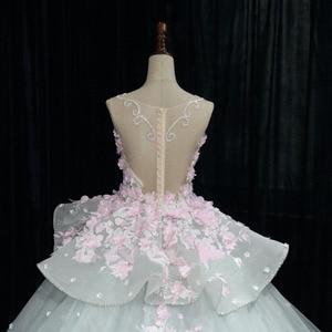 Image 5 - Dreamy Blume Prinzessin Hochzeit Kleider Luxus Bunte Brautkleider Robe De Mariage Sehen Obwohl Perlen Braut Kleid W201715