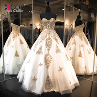 Xcos White Tulle Gold Lace Applique Beaded Evening Dresses Sweetheart Lace Up Back Formal Party Prom Gowns Custom Made