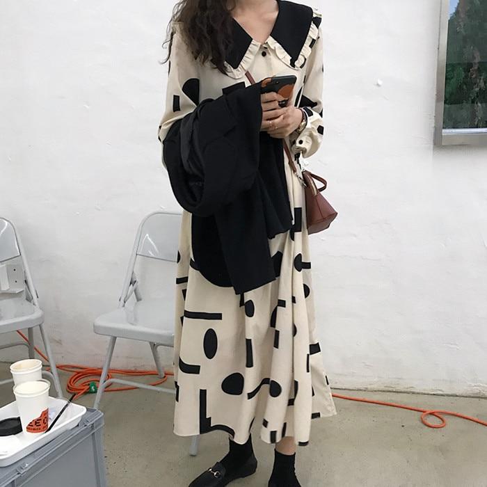 Geometric Printing Peter Pan Collar Vintage Dress Loose Fresh Casual Student Simple Autumn Women Long Dress Donna Vestido Abito 4